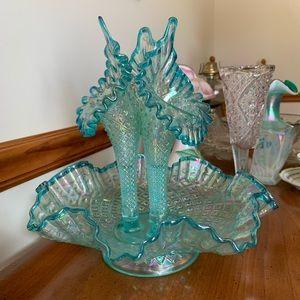 Fenton diamond lace epergne vintage